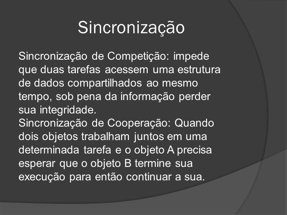 Sincronização Sincronização de Competição: impede que duas tarefas acessem uma estrutura de dados compartilhados ao mesmo tempo, sob pena da informaçã