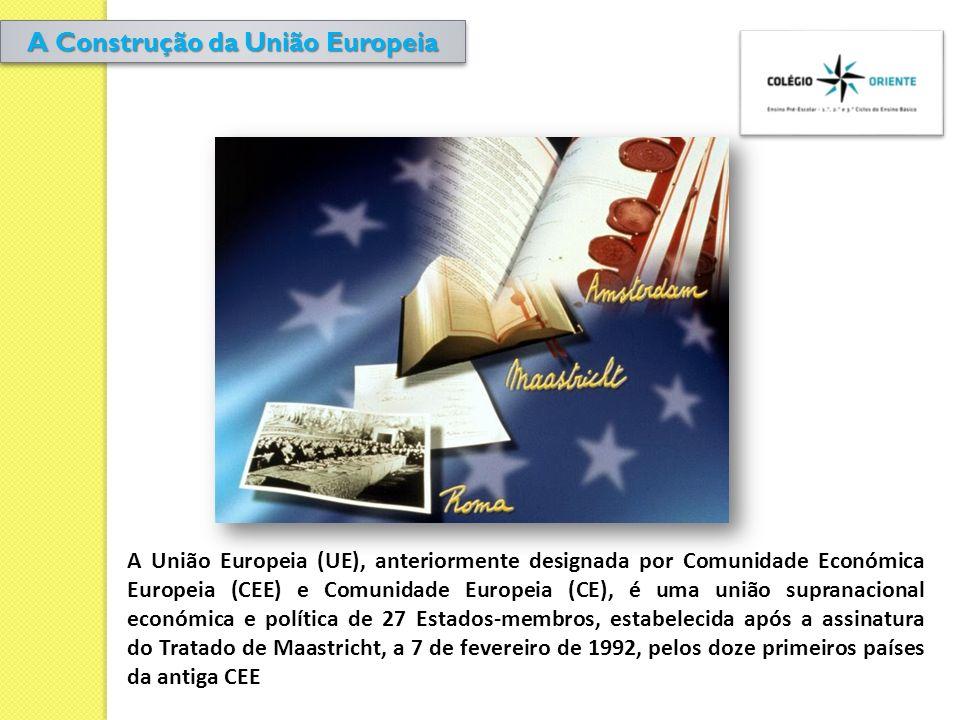 A União Europeia (UE), anteriormente designada por Comunidade Económica Europeia (CEE) e Comunidade Europeia (CE), é uma união supranacional económica