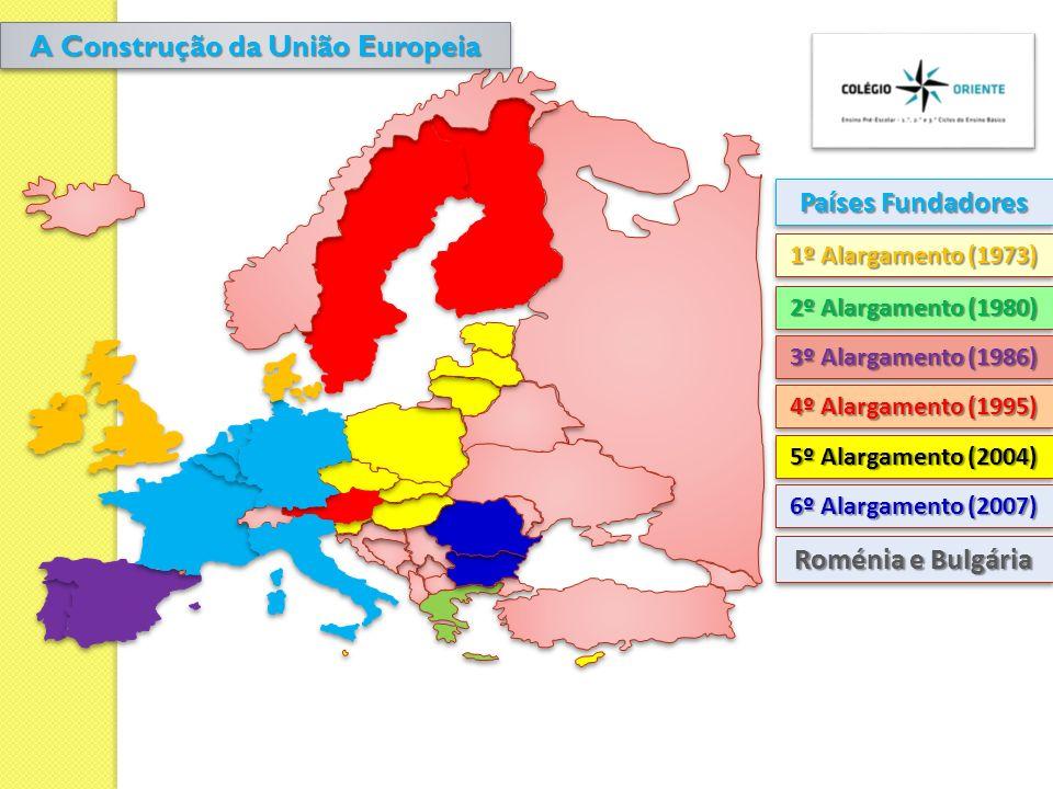 Países Fundadores 1º Alargamento (1973) Roménia e Bulgária 2º Alargamento (1980) 3º Alargamento (1986) 4º Alargamento (1995) 5º Alargamento (2004) 6º