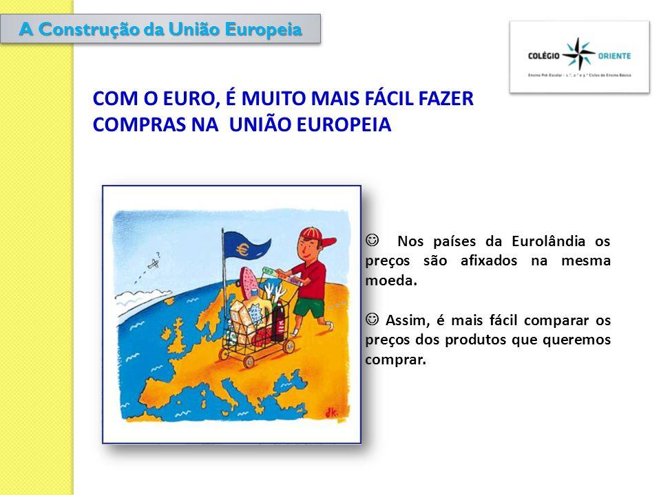 COM O EURO, É MUITO MAIS FÁCIL FAZER COMPRAS NA UNIÃO EUROPEIA Nos países da Eurolândia os preços são afixados na mesma moeda. Assim, é mais fácil com