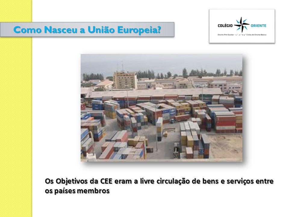 Os Objetivos da CEE eram a livre circulação de bens e serviços entre os países membros