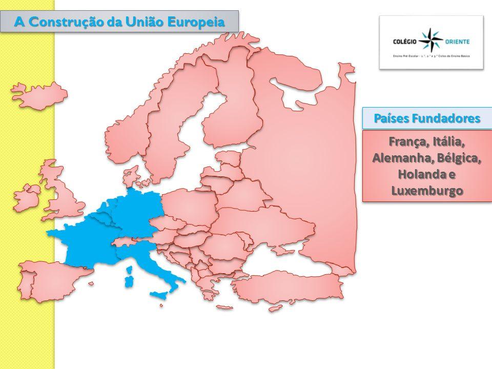 Países Fundadores 1º Alargamento (1973) 2º Alargamento (1980) 3º Alargamento (1986) 4º Alargamento (1995) 5º Alargamento (2004) 6º Alargamento (2007)