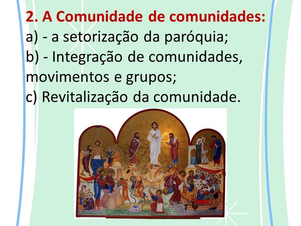 2. A Comunidade de comunidades: a) - a setorização da paróquia; b) - Integração de comunidades, movimentos e grupos; c) Revitalização da comunidade.