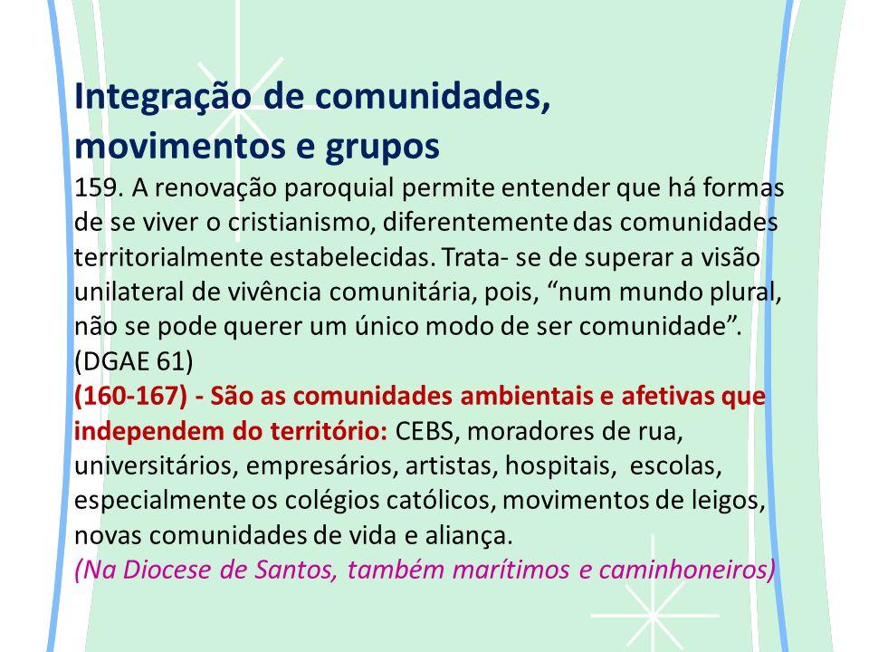 Integração de comunidades, movimentos e grupos 159.