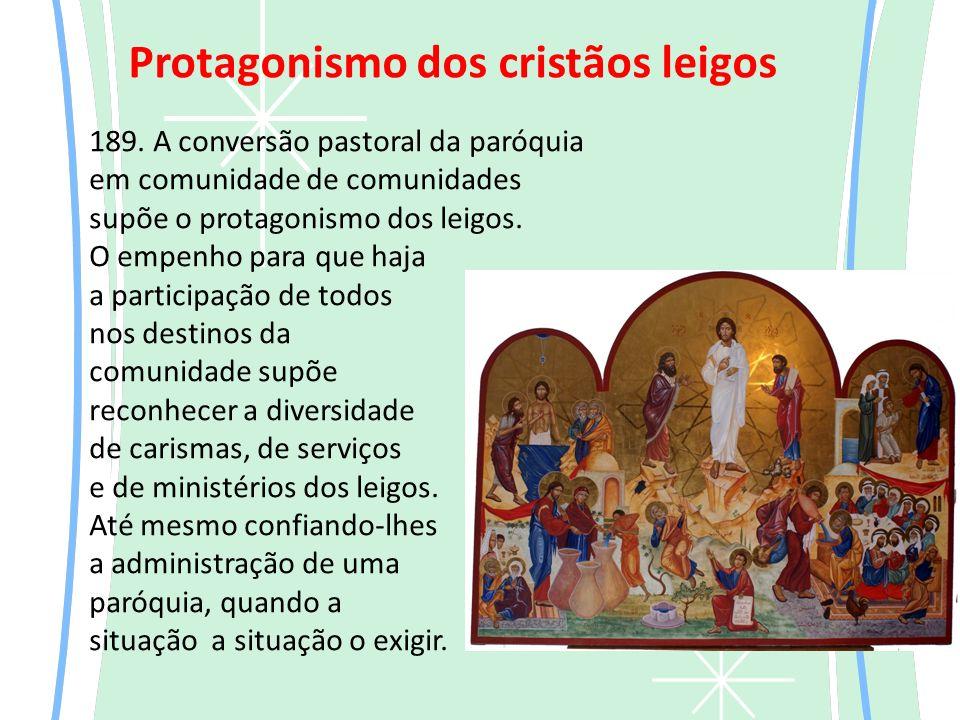 189.A conversão pastoral da paróquia em comunidade de comunidades supõe o protagonismo dos leigos.