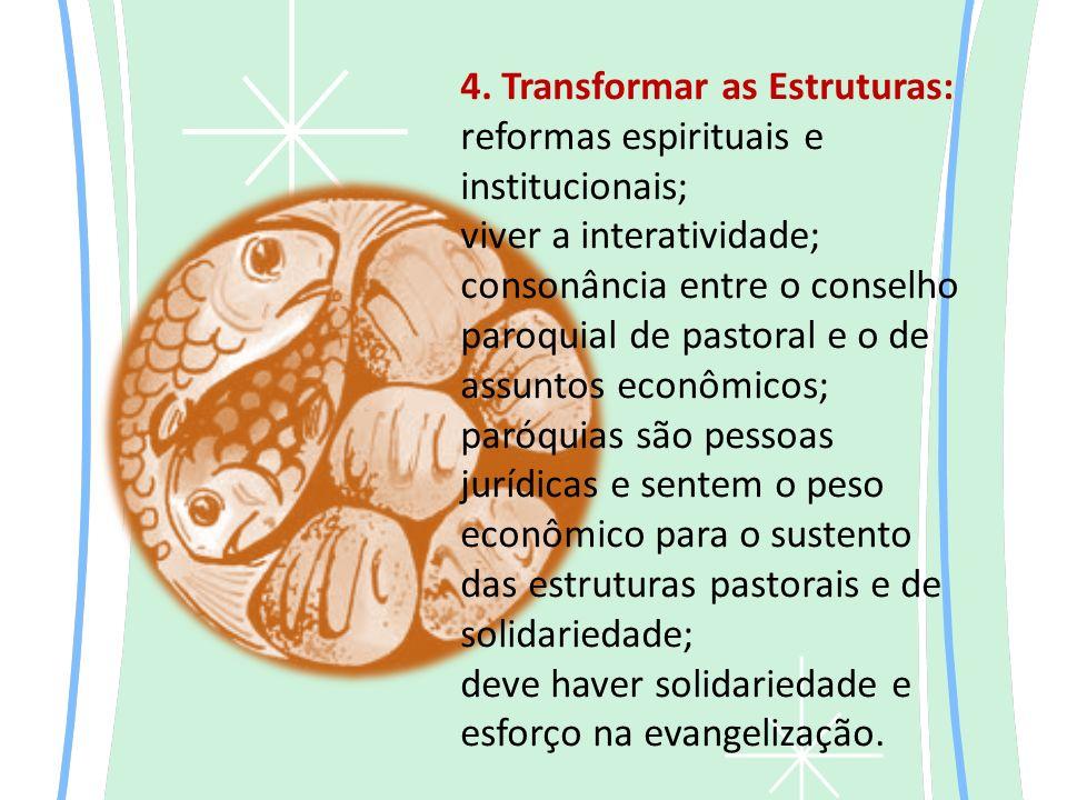 4. Transformar as Estruturas: reformas espirituais e institucionais; viver a interatividade; consonância entre o conselho paroquial de pastoral e o de