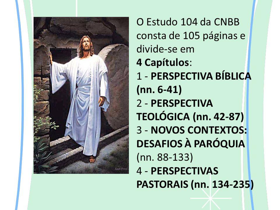O Estudo 104 da CNBB consta de 105 páginas e divide-se em 4 Capítulos: 1 - PERSPECTIVA BÍBLICA (nn.