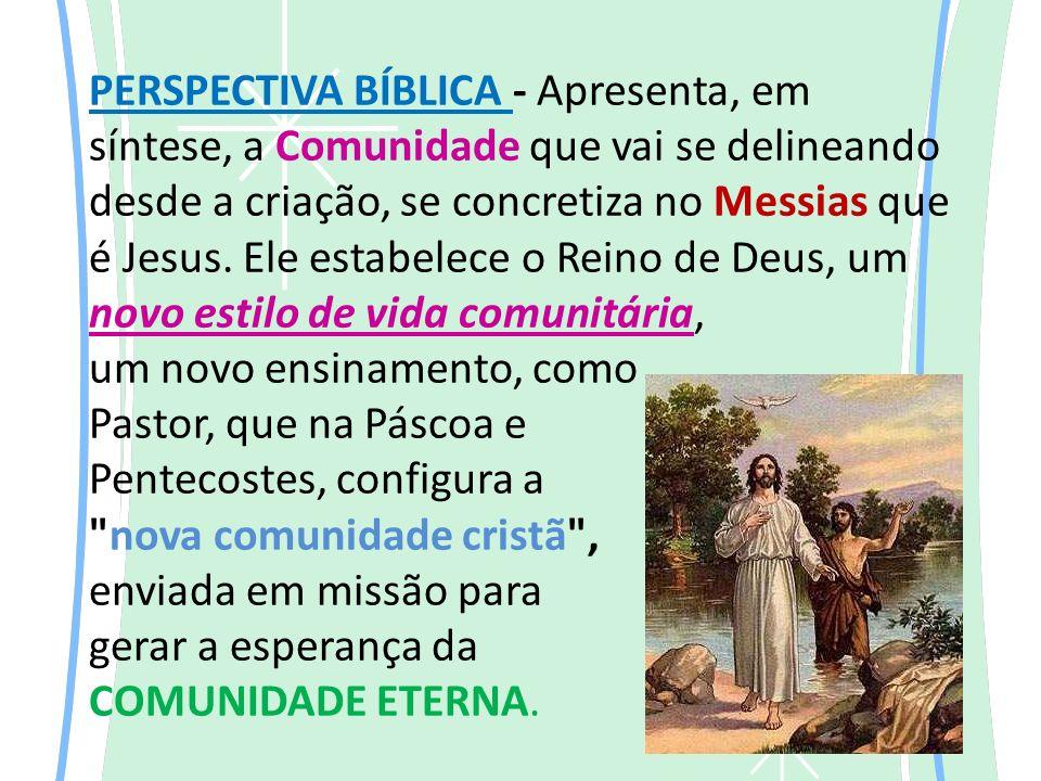PERSPECTIVA BÍBLICA - Apresenta, em síntese, a Comunidade que vai se delineando desde a criação, se concretiza no Messias que é Jesus.