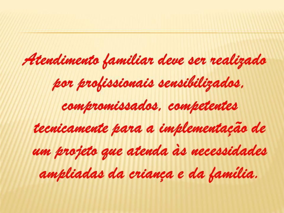 Atendimento familiar deve ser realizado por profissionais sensibilizados, compromissados, competentes tecnicamente para a implementação de um projeto