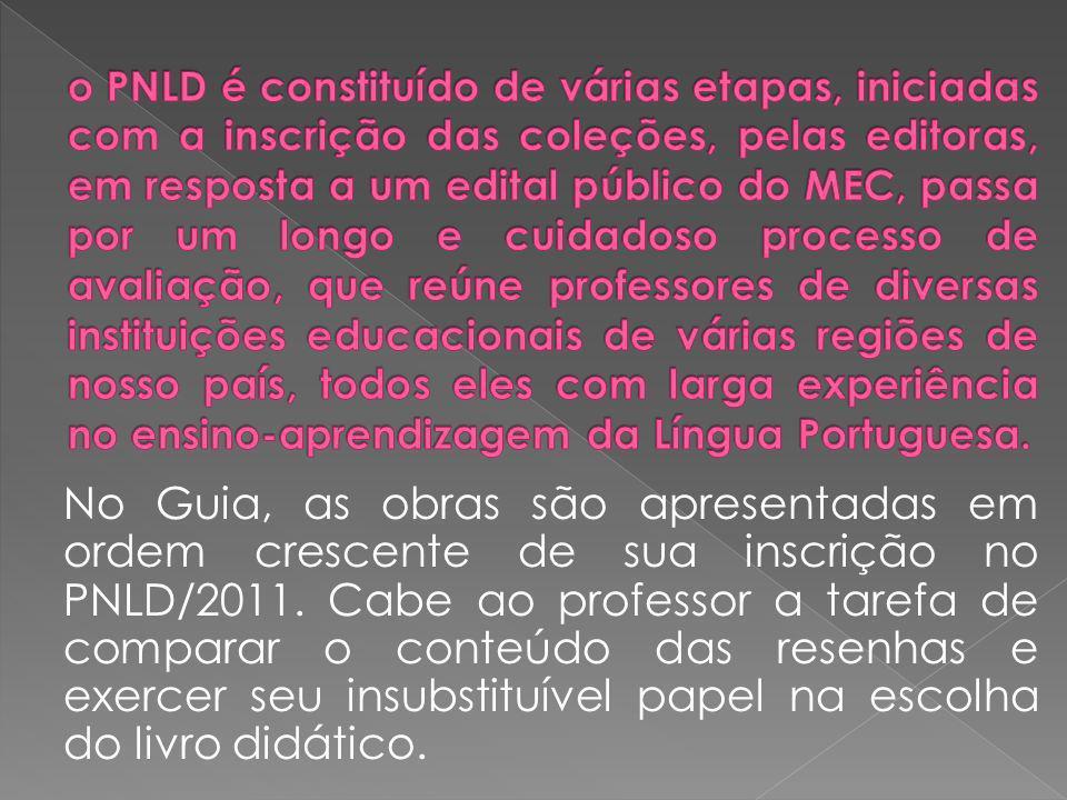 No Guia, as obras são apresentadas em ordem crescente de sua inscrição no PNLD/2011. Cabe ao professor a tarefa de comparar o conteúdo das resenhas e