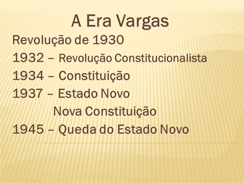 Revolução de 1930 1932 – Revolução Constitucionalista 1934 – Constituição 1937 – Estado Novo Nova Constituição 1945 – Queda do Estado Novo A Era Varga