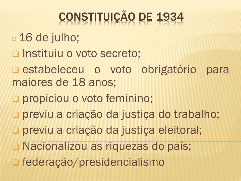 16 de julho; Instituiu o voto secreto; estabeleceu o voto obrigatório para maiores de 18 anos; propiciou o voto feminino; previu a criação da justiça