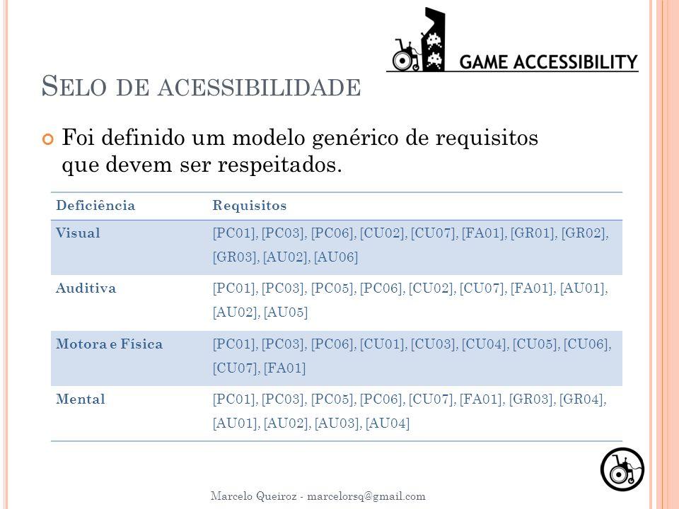 S ELO DE ACESSIBILIDADE Marcelo Queiroz - marcelorsq@gmail.com Foi definido um modelo genérico de requisitos que devem ser respeitados. DeficiênciaReq