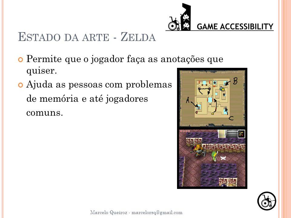 E STADO DA ARTE - Z ELDA Permite que o jogador faça as anotações que quiser. Ajuda as pessoas com problemas de memória e até jogadores comuns. Marcelo