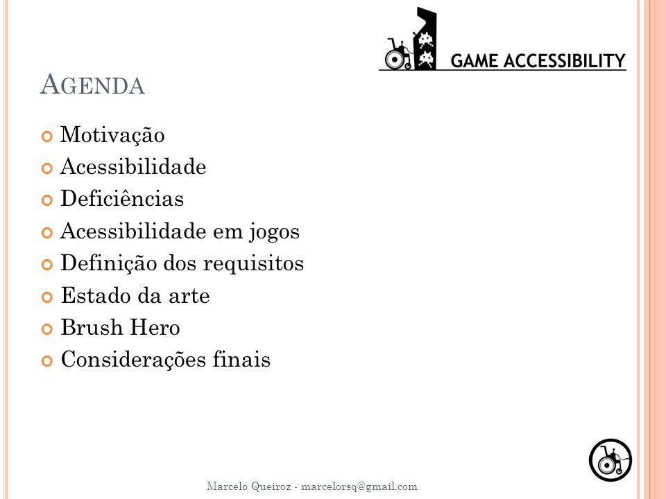 A GENDA Motivação Acessibilidade Deficiências Acessibilidade em jogos Definição dos requisitos Estado da arte Brush Hero Considerações finais Marcelo
