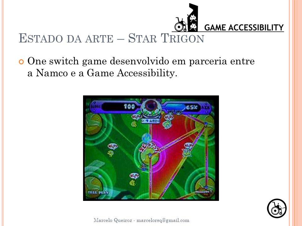 E STADO DA ARTE – S TAR T RIGON One switch game desenvolvido em parceria entre a Namco e a Game Accessibility. Marcelo Queiroz - marcelorsq@gmail.com