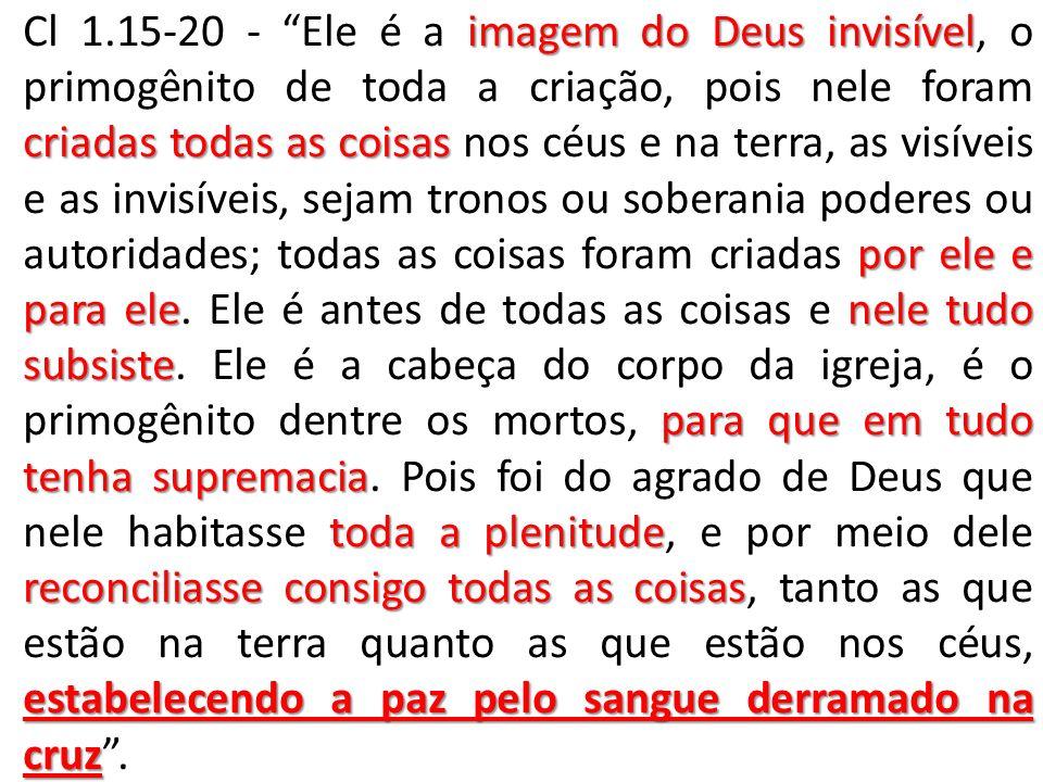 imagem do Deus invisível criadas todas as coisas por ele e para elenele tudo subsiste para que em tudo tenha supremacia toda a plenitude reconciliasse