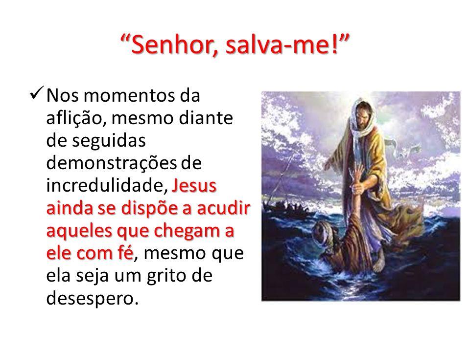 Senhor, salva-me! Jesus ainda se dispõe a acudir aqueles que chegam a ele com fé Nos momentos da aflição, mesmo diante de seguidas demonstrações de in