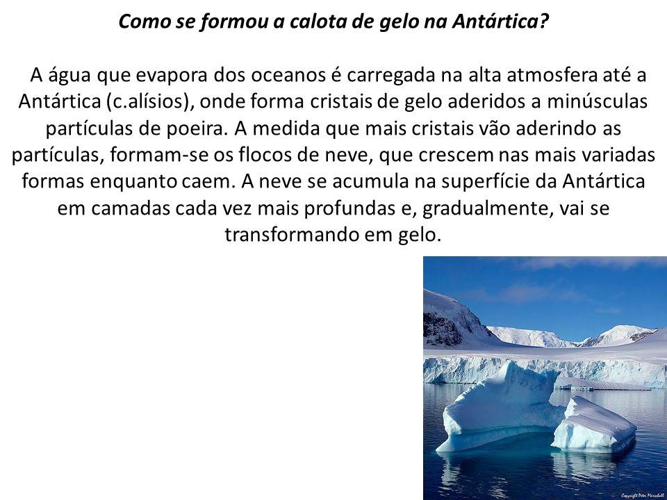 Como se formou a calota de gelo na Antártica? A água que evapora dos oceanos é carregada na alta atmosfera até a Antártica (c.alísios), onde forma cri