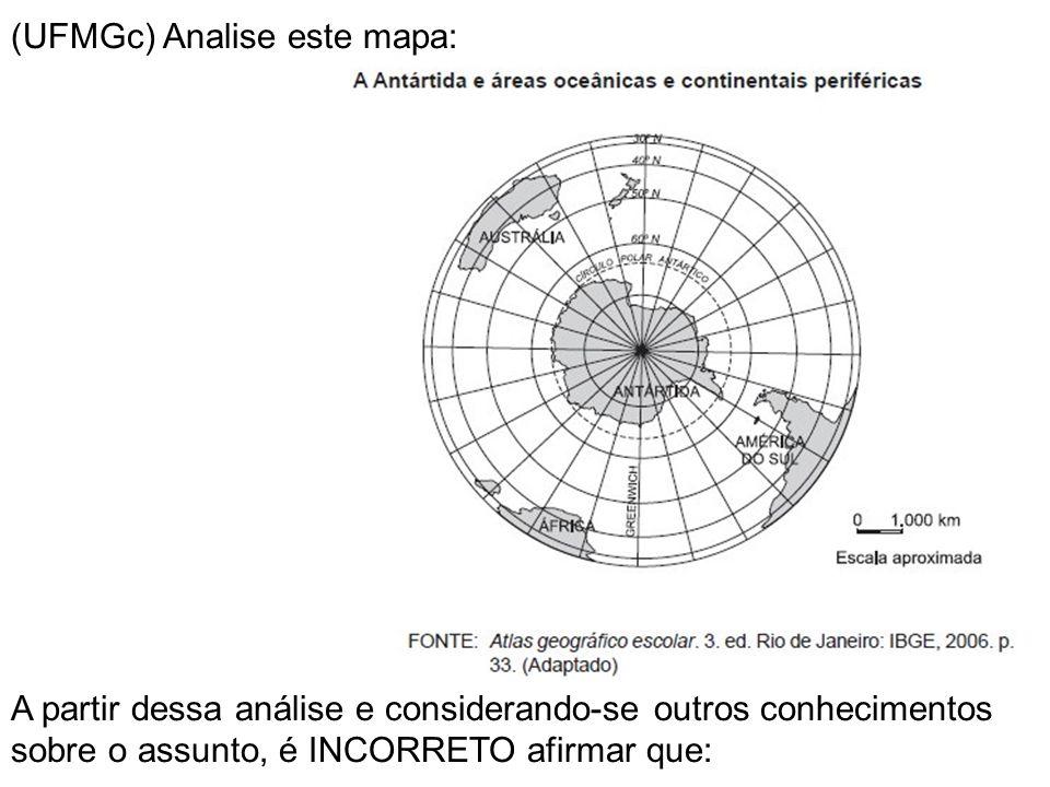 (UFMGc) Analise este mapa: A partir dessa análise e considerando-se outros conhecimentos sobre o assunto, é INCORRETO afirmar que:
