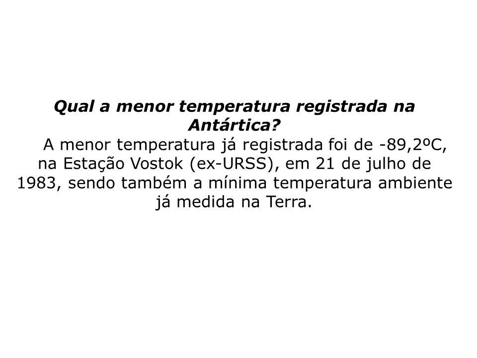 Qual a menor temperatura registrada na Antártica? A menor temperatura já registrada foi de -89,2ºC, na Estação Vostok (ex-URSS), em 21 de julho de 198