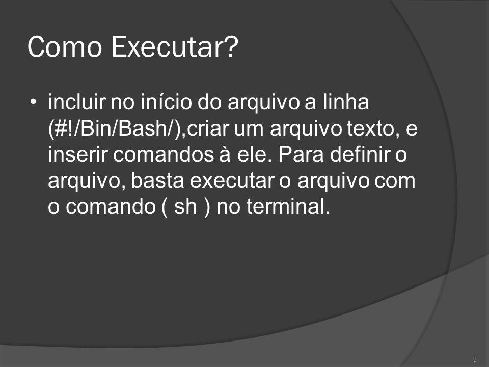 Como Executar? incluir no início do arquivo a linha (#!/Bin/Bash/),criar um arquivo texto, e inserir comandos à ele. Para definir o arquivo, basta exe