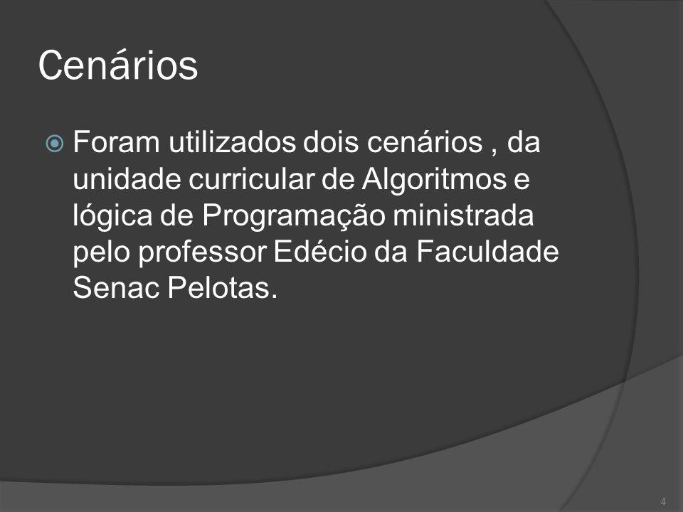 Cenários Foram utilizados dois cenários, da unidade curricular de Algoritmos e lógica de Programação ministrada pelo professor Edécio da Faculdade Sen