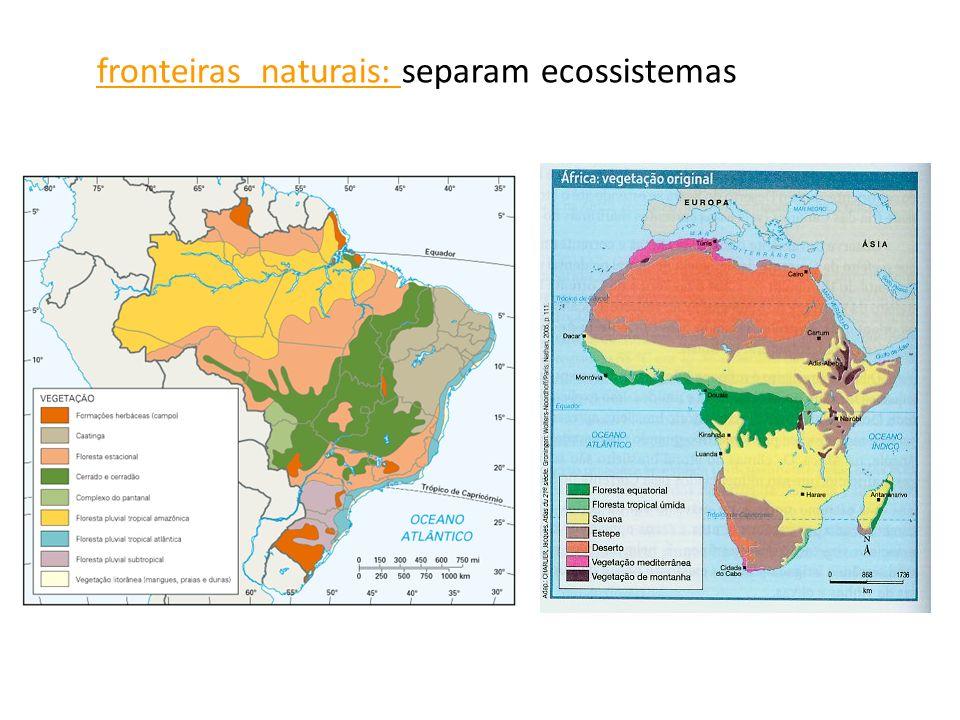 fronteiras naturais: separam ecossistemas