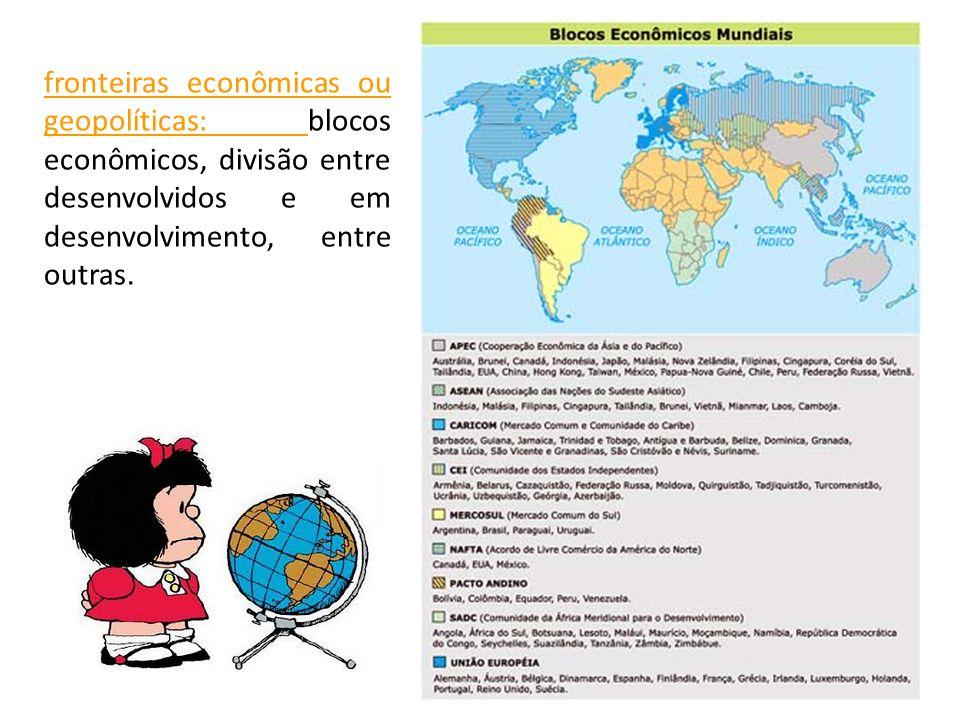 fronteiras econômicas ou geopolíticas: blocos econômicos, divisão entre desenvolvidos e em desenvolvimento, entre outras.
