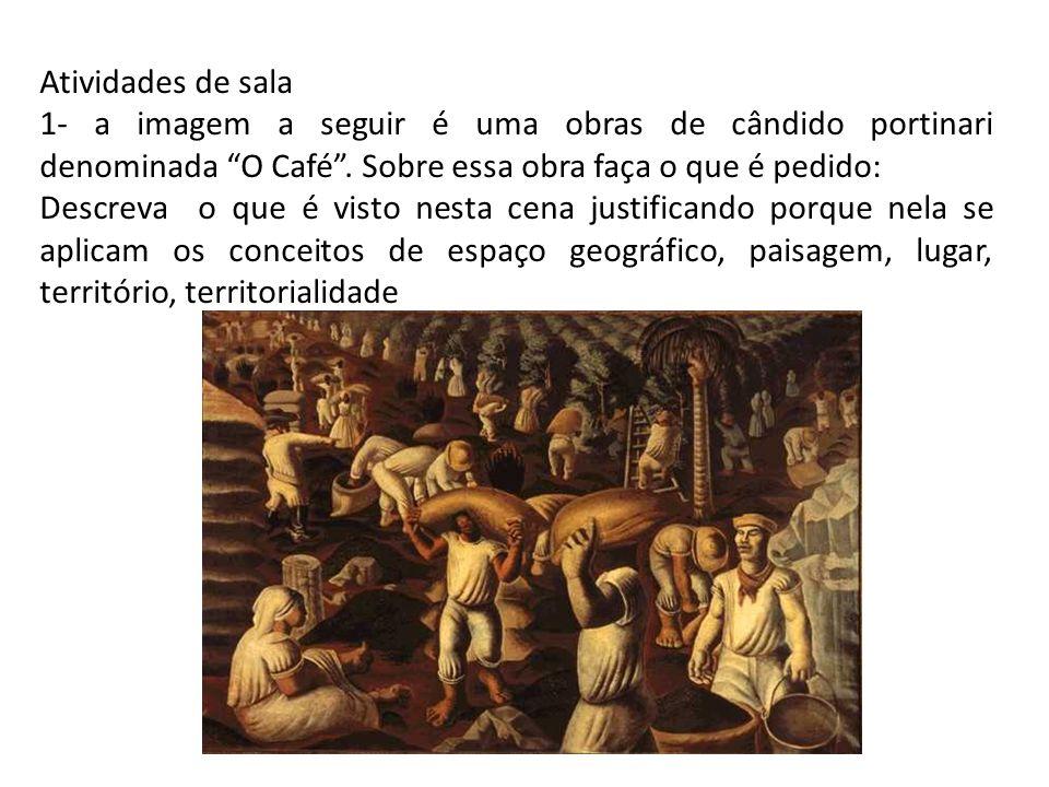 Atividades de sala 1- a imagem a seguir é uma obras de cândido portinari denominada O Café. Sobre essa obra faça o que é pedido: Descreva o que é vist