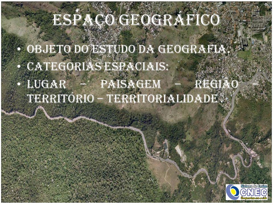 ESPAÇO GEOGRÁFICO Objeto do estudo da Geografia. Categorias espaciais: Lugar – Paisagem – Região – Território – Territorialidade.