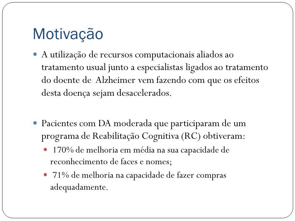 Motivação Principais características da doença: É a forma mais comum de demência; Degenerativa; Até o momento incurável e terminal; Afeta geralmente p