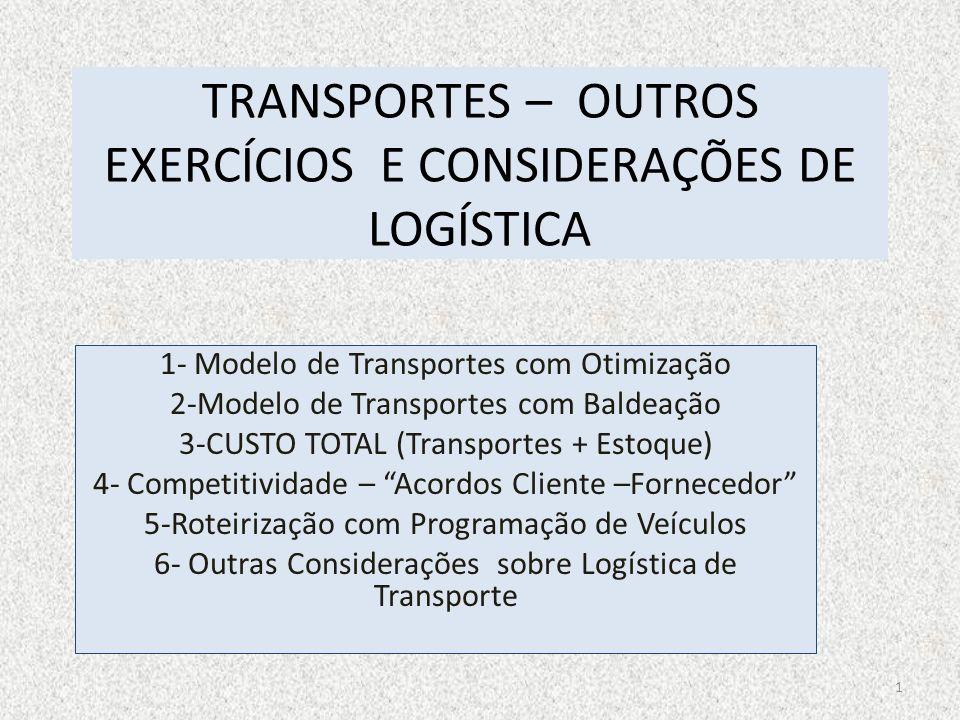 TRANSPORTES – OUTROS EXERCÍCIOS E CONSIDERAÇÕES DE LOGÍSTICA 1- Modelo de Transportes com Otimização 2-Modelo de Transportes com Baldeação 3-CUSTO TOT