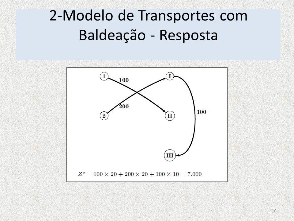 2-Modelo de Transportes com Baldeação - Resposta 10