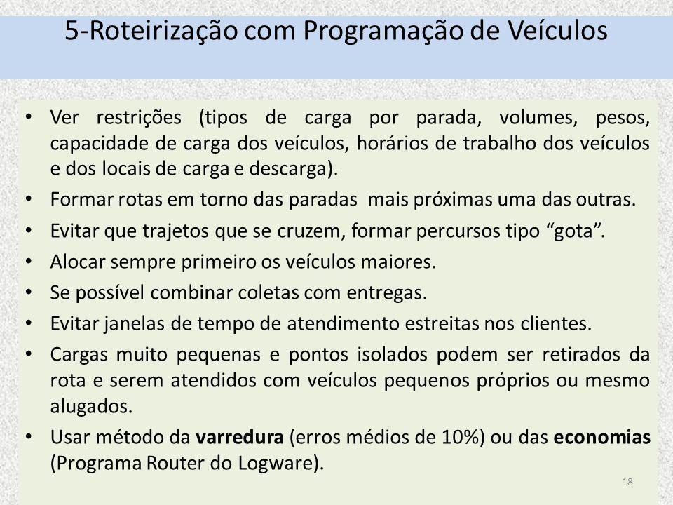 5-Roteirização com Programação de Veículos Ver restrições (tipos de carga por parada, volumes, pesos, capacidade de carga dos veículos, horários de tr