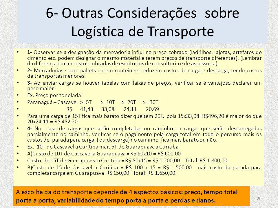 6- Outras Considerações sobre Logística de Transporte 1- Observar se a designação da mercadoria influi no preço cobrado (ladrilhos, lajotas, artefatos