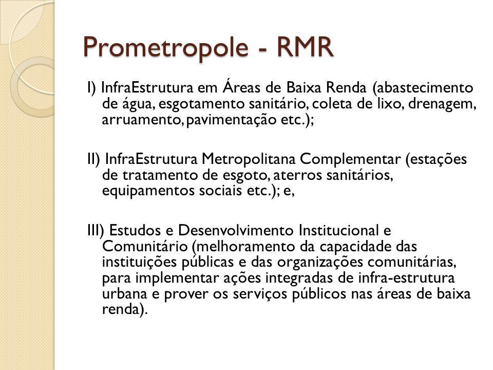 Prometropole - RMR I) InfraEstrutura em Áreas de Baixa Renda (abastecimento de água, esgotamento sanitário, coleta de lixo, drenagem, arruamento, pavi