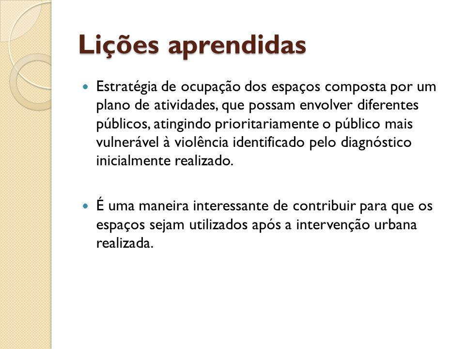 Lições aprendidas Lições aprendidas Estratégia de ocupação dos espaços composta por um plano de atividades, que possam envolver diferentes públicos, a