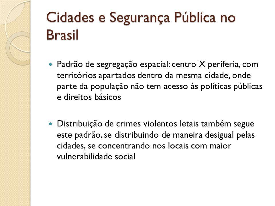 Cidades e Segurança Pública no Brasil Padrão de segregação espacial: centro X periferia, com territórios apartados dentro da mesma cidade, onde parte
