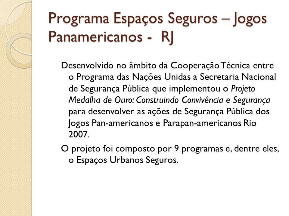 Programa Espaços Seguros – Jogos Panamericanos - RJ Desenvolvido no âmbito da Cooperação Técnica entre o Programa das Nações Unidas a Secretaria Nacio
