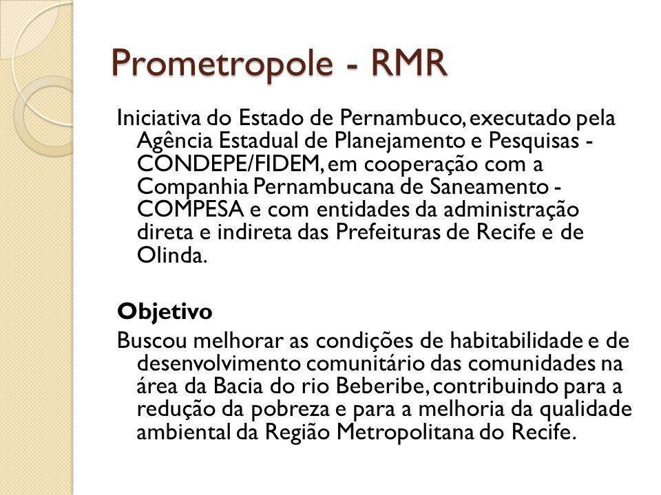 Prometropole - RMR I) InfraEstrutura em Áreas de Baixa Renda (abastecimento de água, esgotamento sanitário, coleta de lixo, drenagem, arruamento, pavimentação etc.); II) InfraEstrutura Metropolitana Complementar (estações de tratamento de esgoto, aterros sanitários, equipamentos sociais etc.); e, III) Estudos e Desenvolvimento Institucional e Comunitário (melhoramento da capacidade das instituições públicas e das organizações comunitárias, para implementar ações integradas de infra-estrutura urbana e prover os serviços públicos nas áreas de baixa renda).
