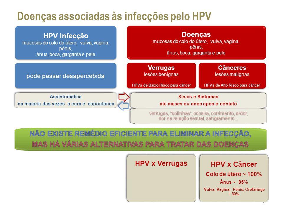 verrugas, bolinhas, coceira, corrimento, ardor, dor na relação sexual, sangramento... Doenças associadas às infecções pelo HPV 11 HPV Infecção mucosas