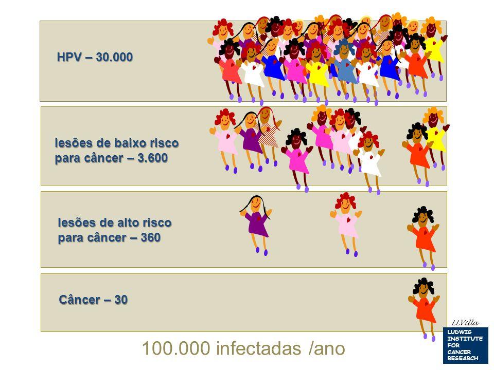 HPV – 30.000 lesões de baixo risco para câncer – 3.600 Câncer – 30 100.000 infectadas /ano LLVilla LUDWIG INSTITUTE FOR CANCER RESEARCH lesões de alto