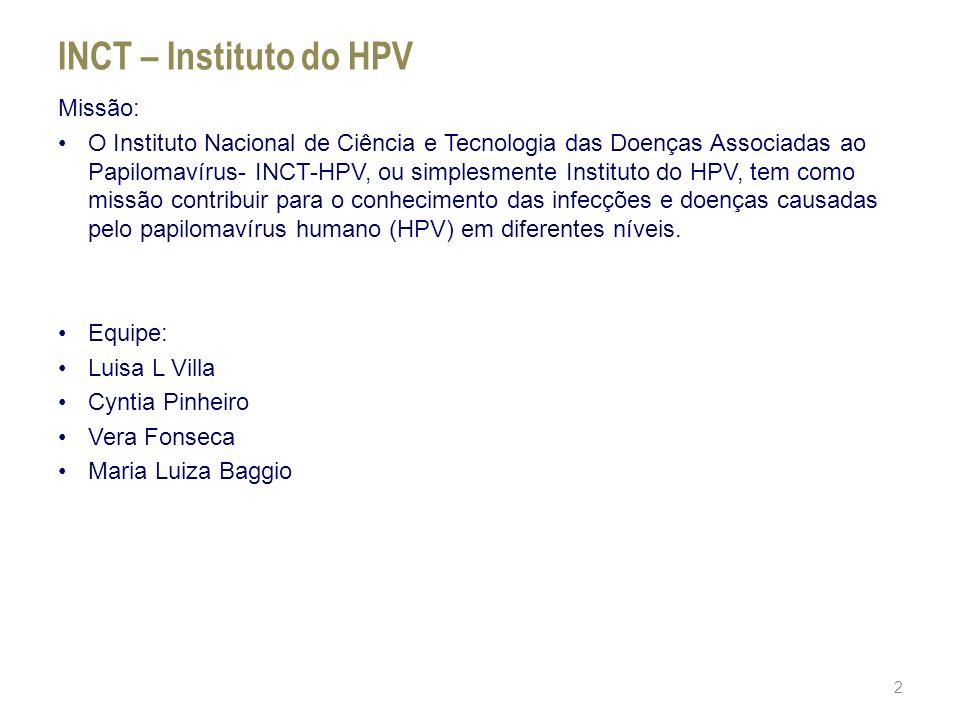 INCT – Instituto do HPV Missão: O Instituto Nacional de Ciência e Tecnologia das Doenças Associadas ao Papilomavírus- INCT-HPV, ou simplesmente Instit