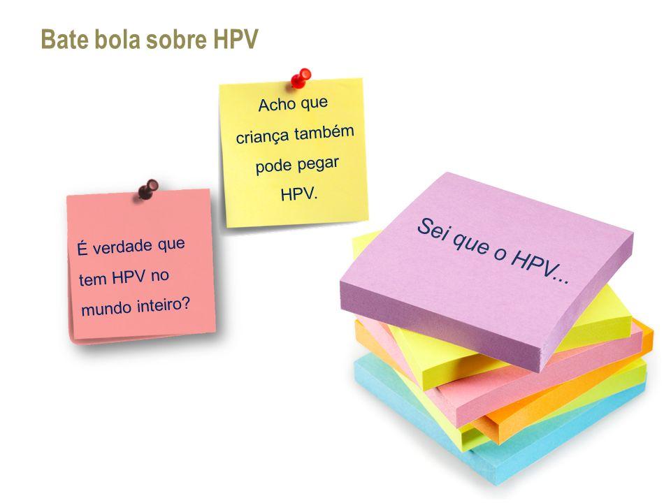 Sei que o HPV... Bate bola sobre HPV Acho que criança também pode pegar HPV. É verdade que tem HPV no mundo inteiro?
