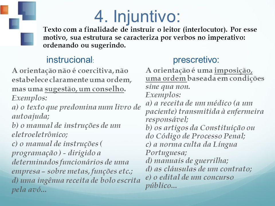 4. Injuntivo: instrucional : A orientação não é coercitiva, não estabelece claramente uma ordem, mas uma sugestão, um conselho. Exemplos: a) o texto q
