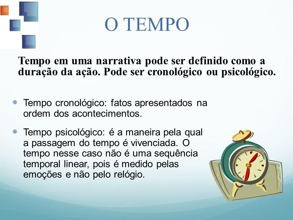O TEMPO Tempo cronológico: fatos apresentados na ordem dos acontecimentos. Tempo psicológico: é a maneira pela qual a passagem do tempo é vivenciada.