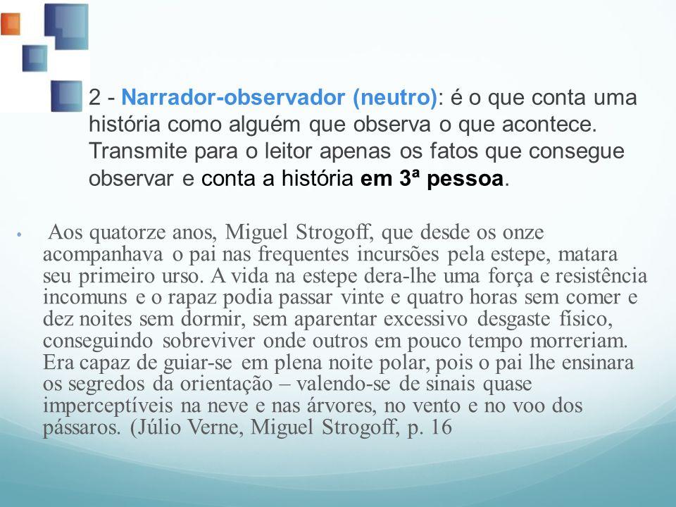 2 - Narrador-observador (neutro): é o que conta uma história como alguém que observa o que acontece. Transmite para o leitor apenas os fatos que conse