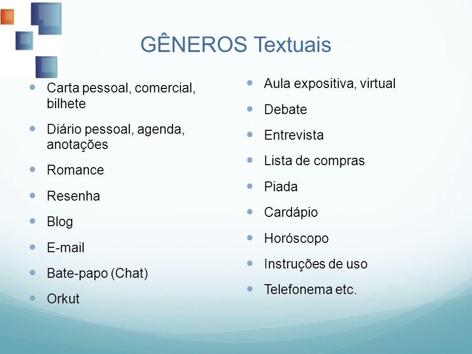 GÊNEROS Textuais Carta pessoal, comercial, bilhete Diário pessoal, agenda, anotações Romance Resenha Blog E-mail Bate-papo (Chat) Orkut Aula expositiv