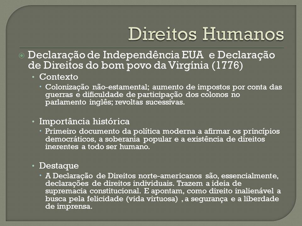 Declaração de Independência EUA e Declaração de Direitos do bom povo da Virgínia (1776) Contexto Colonização não-estamental; aumento de impostos por conta das guerras e dificuldade de participação dos colonos no parlamento inglês; revoltas sucessivas.